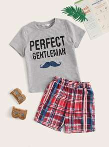 Boys Mixed Print Heather Grey Tee and Plaid Shorts PJ Set