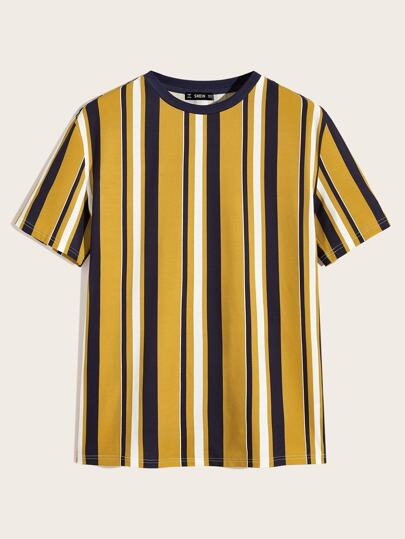 Guys Contrast Neck Striped Top