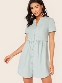 Rolled Sleeve Button Front Dress