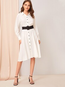 Gathered Detail Shirt Dress With Buckle Belt