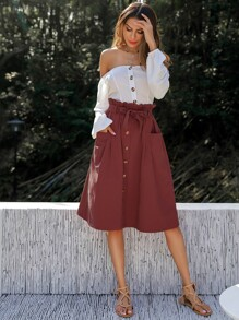 Double Pocket Button Paper Bag Waist Skirt