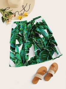 Plus Tropical Print Double Layer Hem Skirt