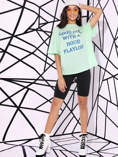 Neon Slogan Graphic Oversized Tee