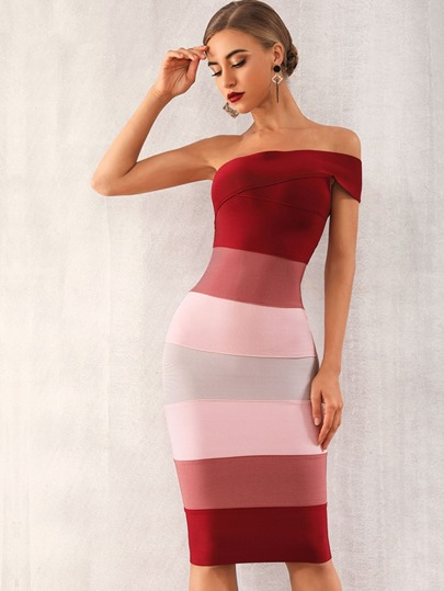 e4c8be63957 Adyce One Shoulder Colorblock Zip Back Bodycon Dress