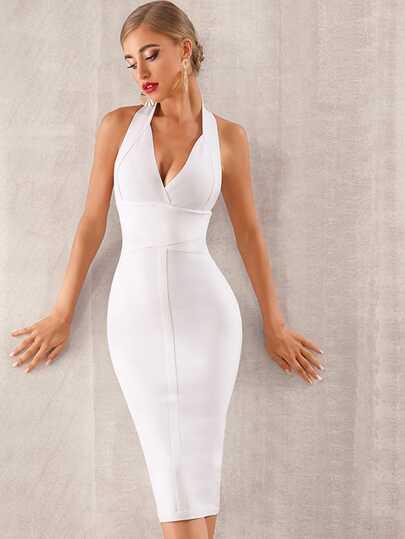 2b692732410 Adyce vestido de bandeja halter de espalda abierta con cremallera