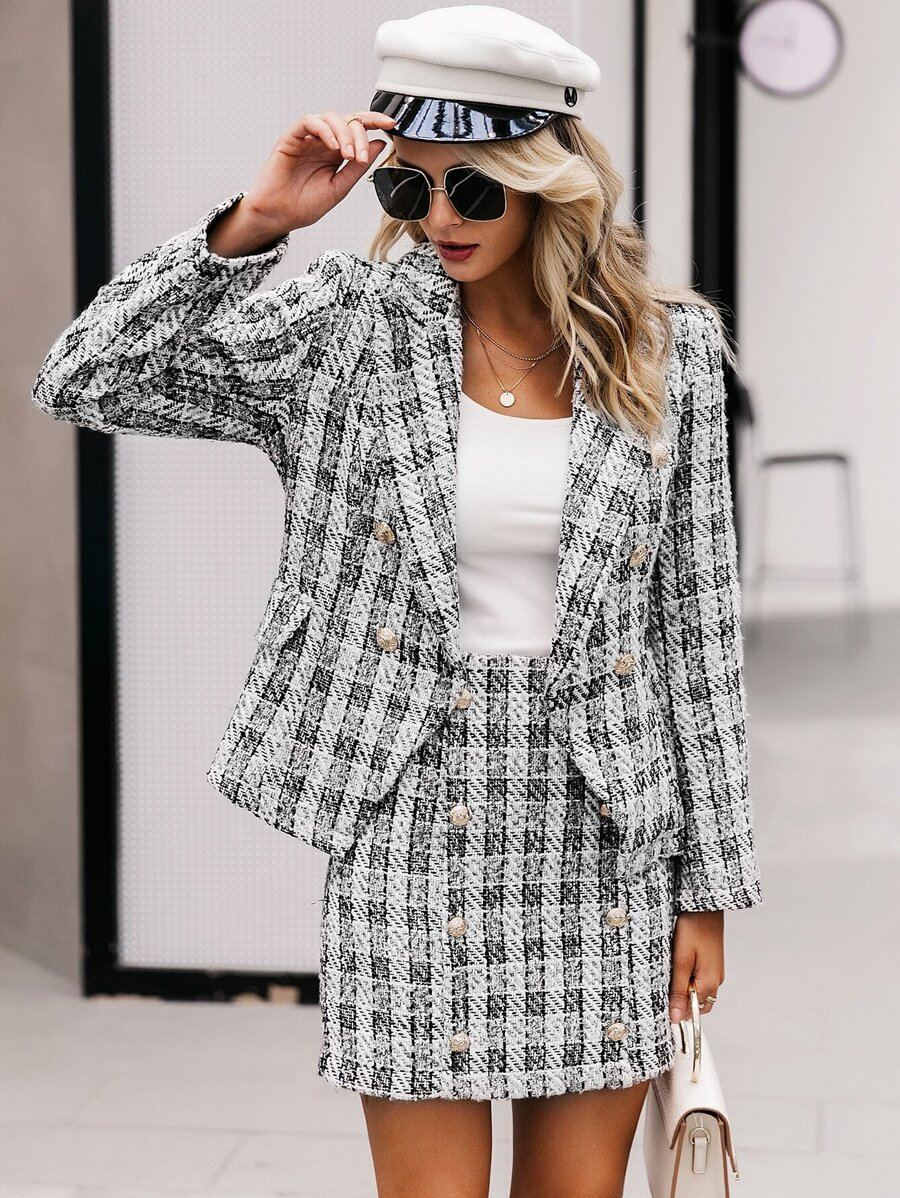 Simplee Double Breasted Plaid Tweed Blazer by Sheinside