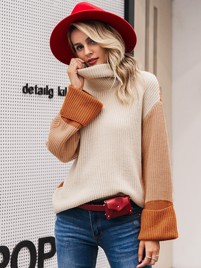 0e237b35f Simplee Colorblock High Neck Drop Shoulder Sweater