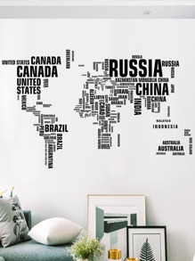 World Map Country Name Print Wall Sticker