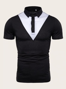 Men Contrast Panel Polo Shirt
