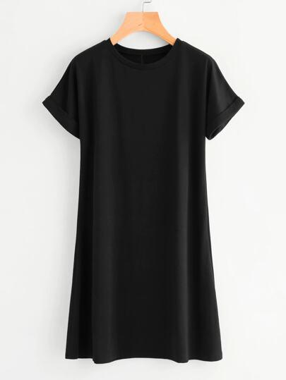 d4357e60c3e Vestido estilo camiseta unicolor de manga de doblez - grande