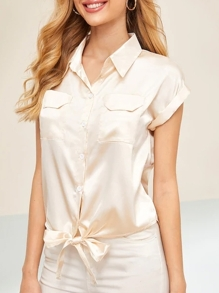 Satin Knot Hem Button Front Blouse