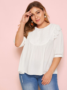 Plus Eyelet Embroidery Ruffle Trim Blouse