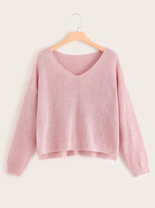 Plus V Neck Solid Sweater