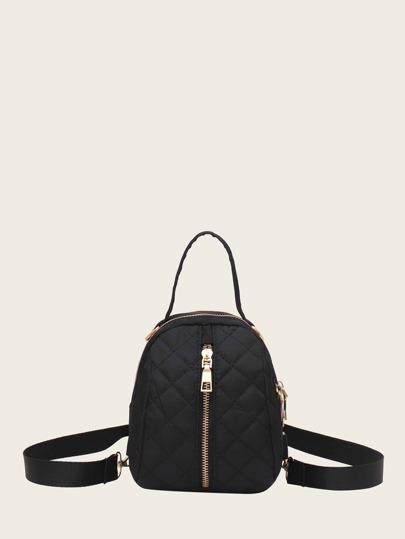 Zip Front Quilted Satchel Backpack