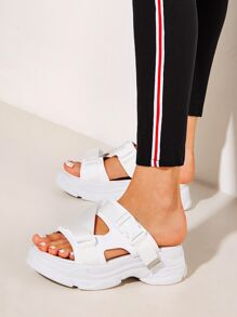 Open Toe Cut Out Chunky Sole Sliders