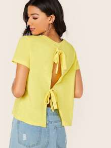 Solid Tie Back Backless Tee