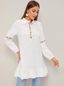 Flower Embroidery Ruffle Hem Blouse