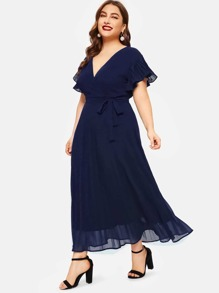 Plus Surplice Front Belted Pleated Dress