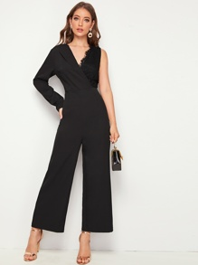 Solid Lace Contrast One Shoulder Jumpsuit