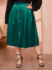 Plus Satin Button Front Skirt