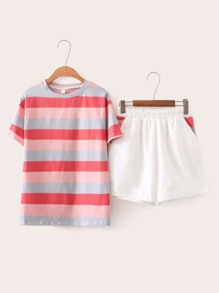 Colourful Stripe Tee & Elastic Waist Shorts