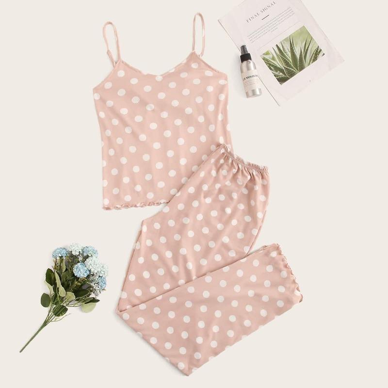 Polka Dot Lettuce Trim Cami Pajama Set, Baby pink