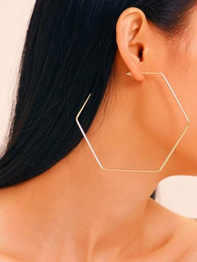Hexagon Hoop Earrings 1pair