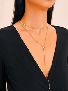 Rhinestone Charm Chain Lariat Necklace 1pc