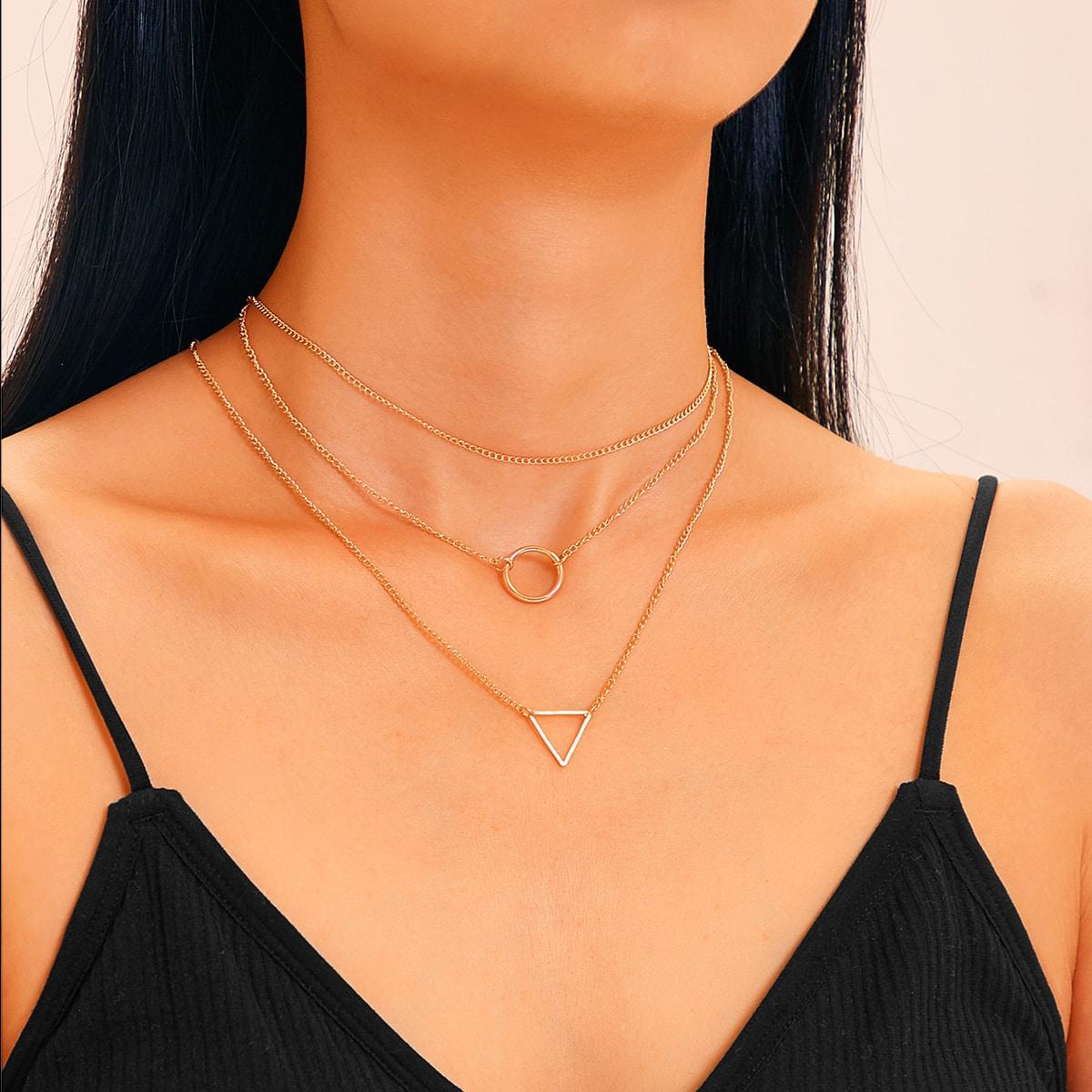 Geometric Charm Chain Necklace 3pcs
