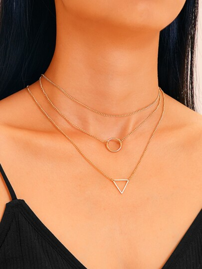 Geometric Charm Chain Necklace 3pcs