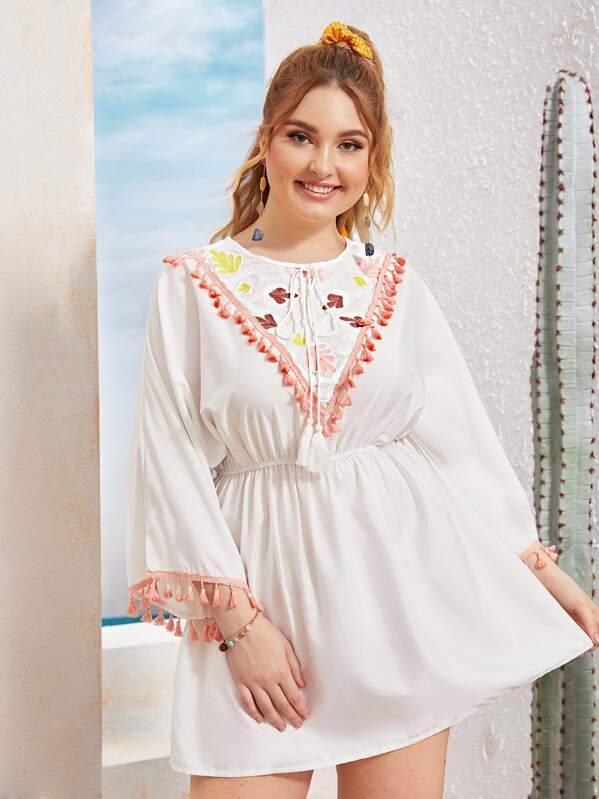 Plus Embroidery Fringe Hem Peasant Dress