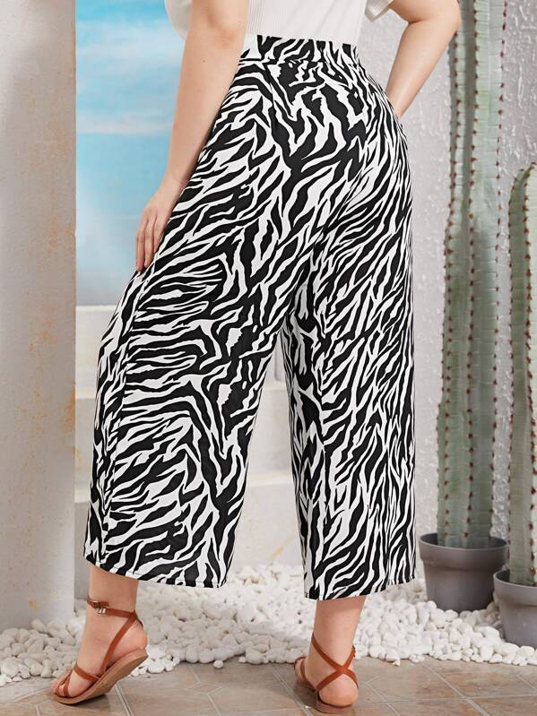 Plus Zebra Print Wide Leg Trousers