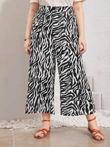 Plus Zebra Print Wide Leg Pants
