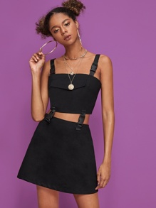 Push Buckle Zip Back Cami Top With Skirt