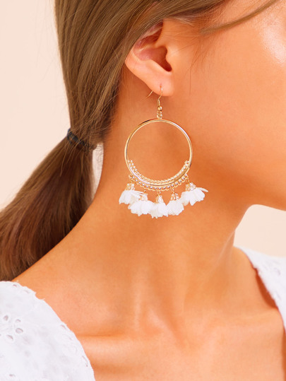 Flower Decor Hoop Drop Earrings 1pair