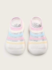 Baby Girls Striped Knitted Slip On Shoes