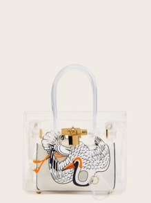 Animal Print Clear Satchel Bag With Inner Clutch