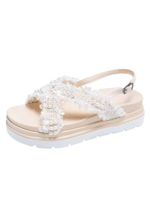 Faux Pearl Decor Slingback Sandals