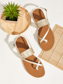 Toe Ring Buckle Strap Slingback Sandals