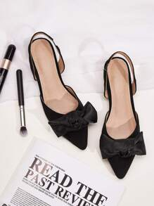 Point Toe Bow Decor Slingback Flats