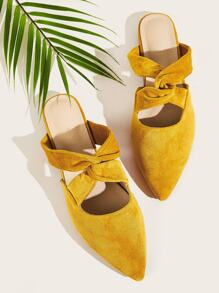 Point Toe Twist Suede Flat Mules