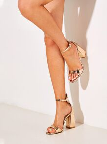 Metallic Ankle Strap Chunky Heels