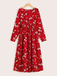 Allover Floral Elastic Waist Dress