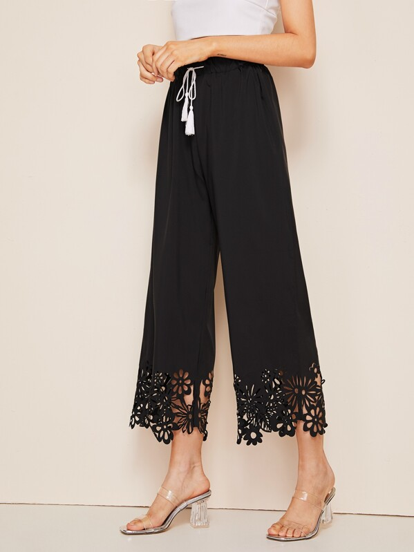 Hollow Out Drawstring Waist Wide Leg Pants by Sheinside