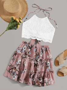 Tie Back Scallop Trim Lace Top & Floral Skirt