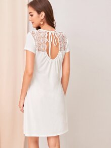 Tie Back Cut-out Lace Yoke Midi Dress