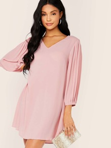 Solid Pleated Sleeve Tunic Dress