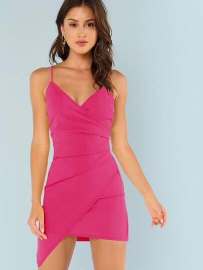 ada410006f27 Surplice Neck Asymmetrical Hem Bodycon Slip Dress