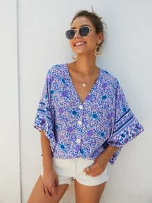 Ditsy Floral Print Button Front Batwing Sleeve Blouse