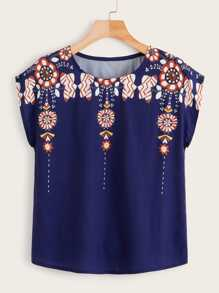 Floral Print Tribal Cap Sleeve Blouse